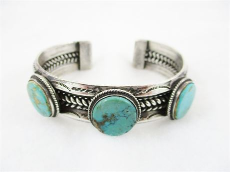 VINTAGE STERLING SILVER CUFF WITH TURQUOISE STONES
