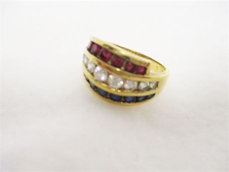 STERLING SILVER SIZE 8 RING WITH RED, WHITE, AND BLUE STONES