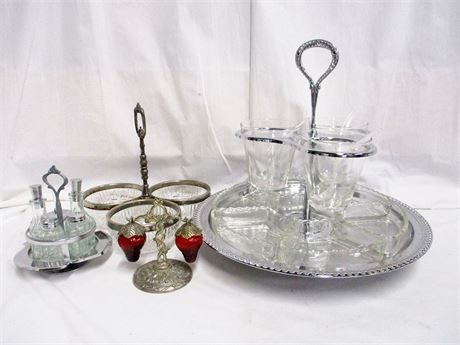 LOT OF VINTAGE GLASS SERVEWARE WITH METAL ACCENTS