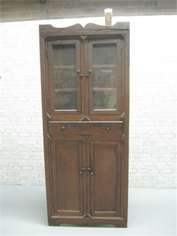 LARGE ANTIQUE CORNER CABINET