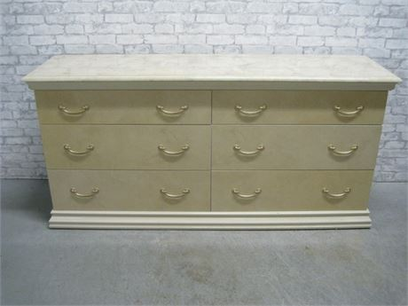 LARGE 6 DRAWER LAMINATE DRESSER WITH FAUX MARBLE TOP