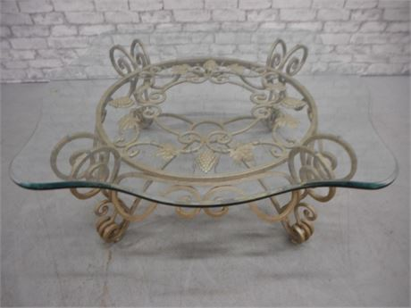 VERY NICE BEVELED GLASS & WROUGHT IRON COFFEE TABLE