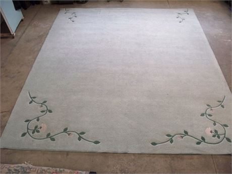 FLORAL PASTEL GREEN AREA RUG