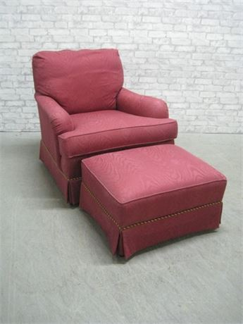 SHERRILL/BREWSTER & STROUD OCCASIONAL CHAIR AND OTTOMAN