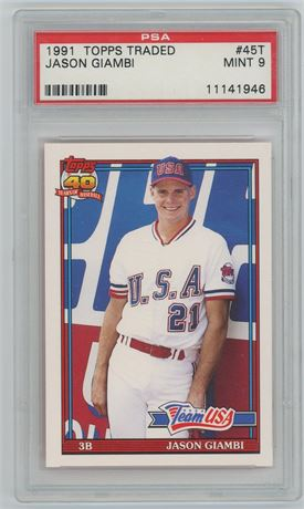 Jason Giambi 1991 Topps Traded PSA 9 Team USA Rookie Card