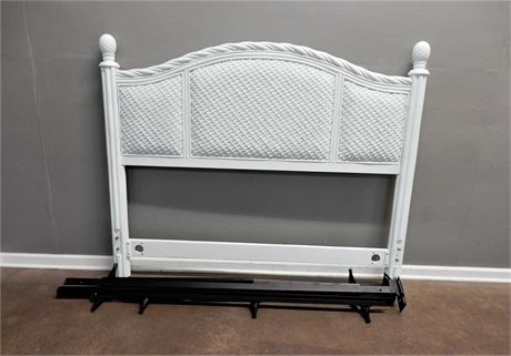 White Wicker Queen Size Headboard with Frame