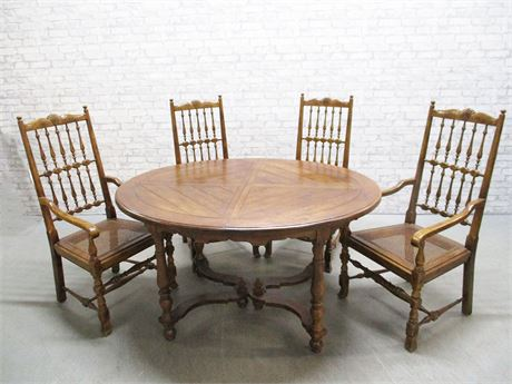 HENREDON DINING TABLE AND CHAIRS