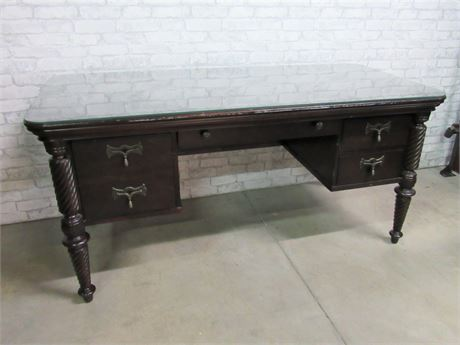 Vintage Style Desk with Protective Glass Top