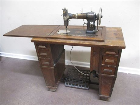 VINTAGE WHITE FAMILY ROTARY TREADLE SEWING MACHINE