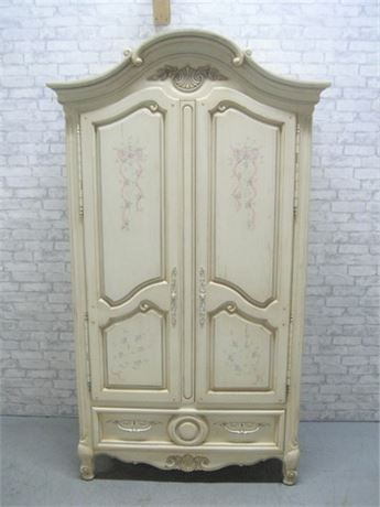 THOMASVILLE PAINTED/STENCILED RUSTIC LOOK BEDROOM ARMOIRE