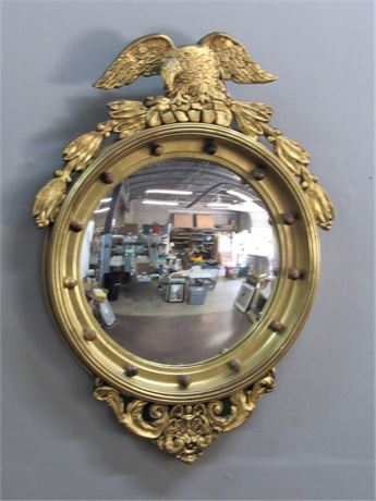 Federal Style Gold Finished Convex Mirror
