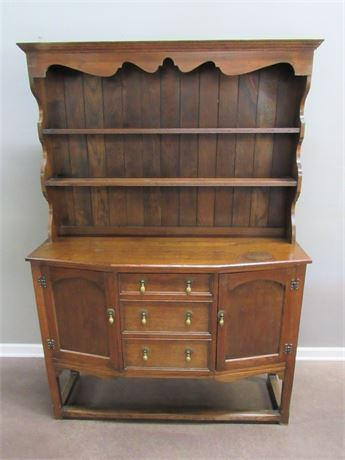 Antique Bow Front China Hutch/Buffet