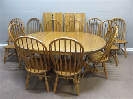 Solid Oak 12-Guest Dining Table Set