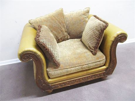 LEATHER AND UPHOLSTERED ARM CHAIR FROM Z GALLERIE