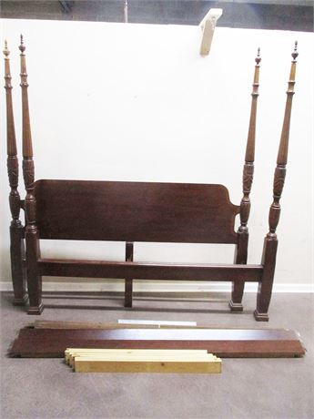 BEAUTIFUL KING RICE CARVED FOUR POSTER BED FRAME