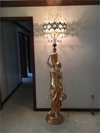VINTAGE GOLDEN LADY FLOOR LAMP WITH CRYSTALS