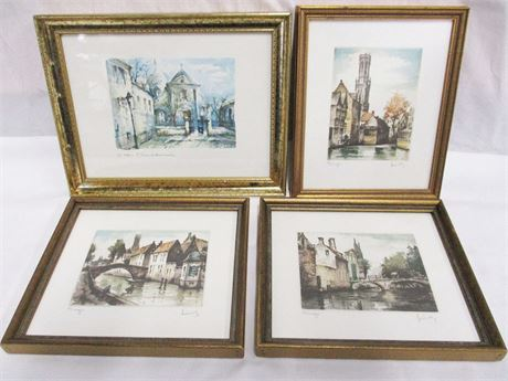 LOT OF WATERCOLOR PICTURES OF BRUGES AND PARIS