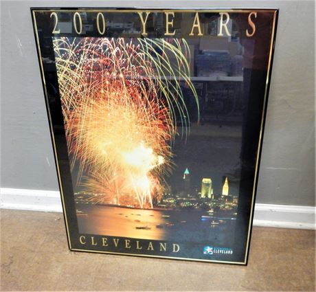Bicentennial Cleveland Commemorative 200 Years Print Framed.