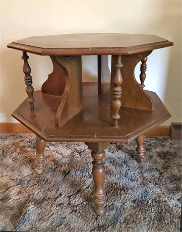 Octagon Pedestal End Table