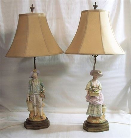 2 VINTAGE VICTORIAN STYLE FIGURAL CERAMIC LAMPS WITH SHADES