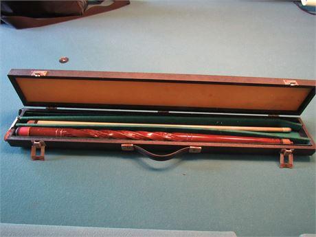 Vintage Billiards Cue Stick with Case