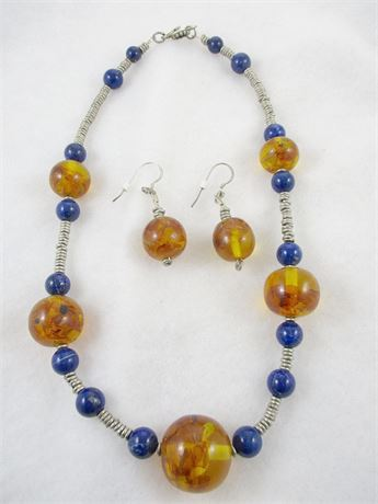 VINTAGE AMBER AND LAPIS STERLING SILVER NECKLACE AND EARRINGS