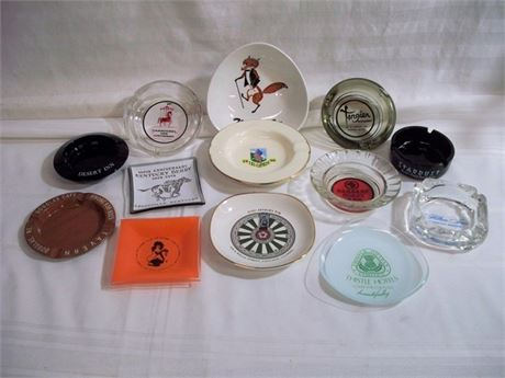 13 PIECE SOUVENIR ASHTRAY/TRINKET DISH LOT