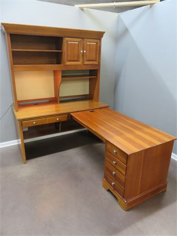 STANLEY L-Shape Office Desk with Hutch
