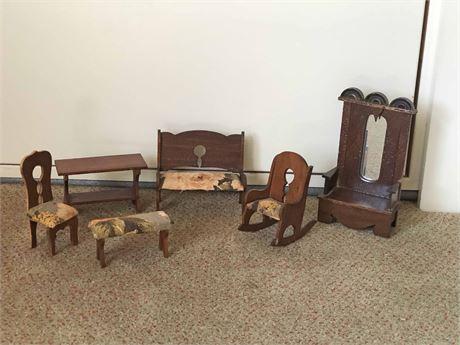 Vintage Wooden Doll House Furniture