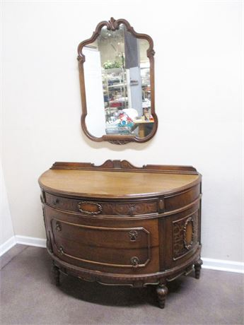 VINTAGE CURVED BUFFET WITH MIRROR BY KARGES FURNITURE