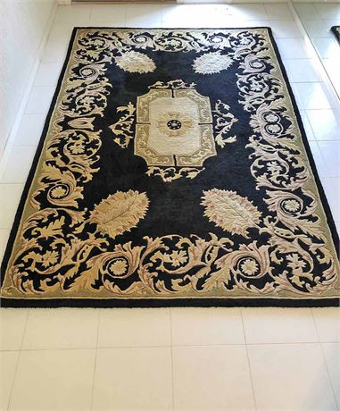 Black and Gold Scroll Leaf Area Rug