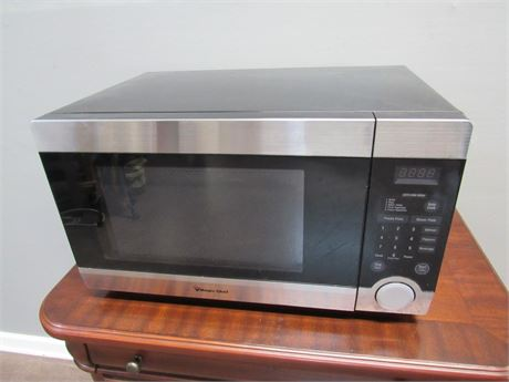 Magic Chef Stainless and Black Microwave