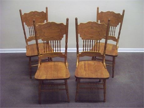 4 OAK PRESSED BACK CHAIRS