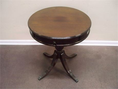 VINTAGE DRUM TABLE WITH DRAWER