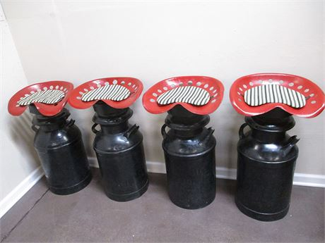 LOT OF 4 MILK CAN BAR STOOLS