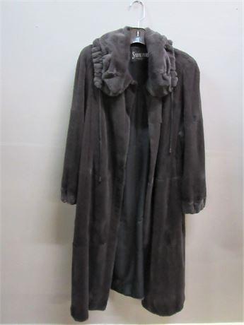 Floor Length Brown  Mink  Fur Coat