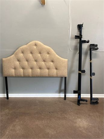 Fabric Headboard and Frame on Casters