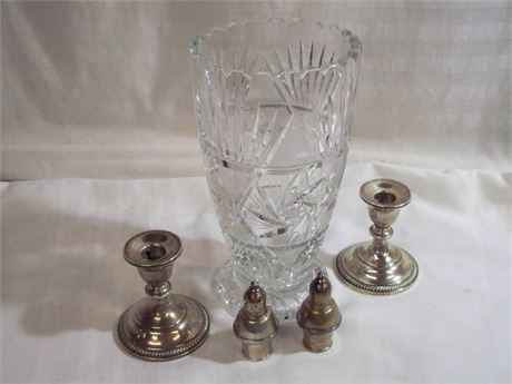 5 PIECE MISC. LOT - CRYSTAL VASE AND WEIGHTED STERLING