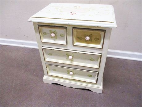 FLOWER-EMBELLISHED NIGHTSTAND