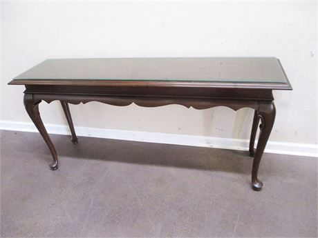 QUEEN ANNE CONSOLE TABLE WITH GLASS TOP