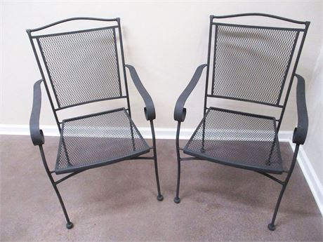 LOT OF 2 WROUGHT IRON OUTDOOR CHAIRS