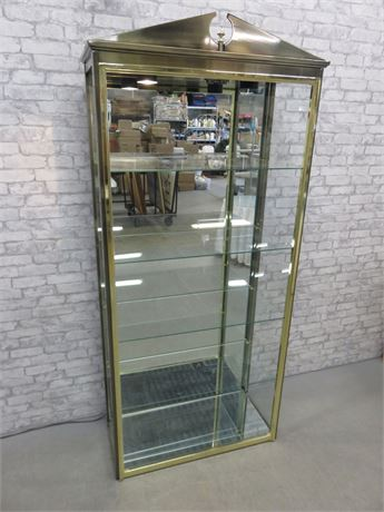 Brass/Metal Open Front Curio Display Cabinet