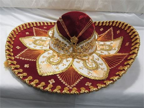 Belri Hats - Hand-made Decorative Mexican Mariachi Sombrero Hat - Red