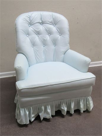 LIGHT BLUE UPHOLSTERED OCCASIONAL CHAIR