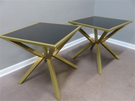 Contemporary Black Glass End Tables