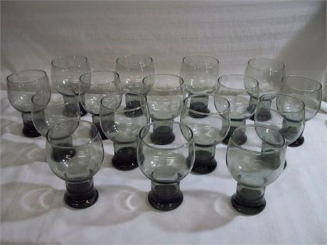 16 VINTAGE SMOKE COLORED DRINKING GLASSES