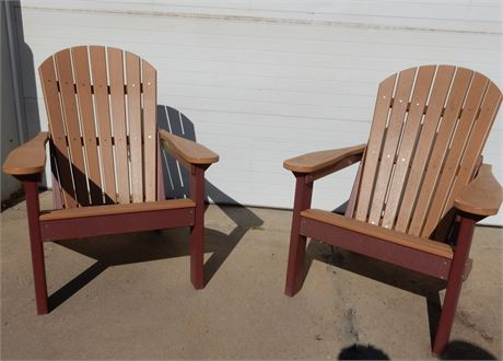 Two All Weather Poly Adirondack Chairs