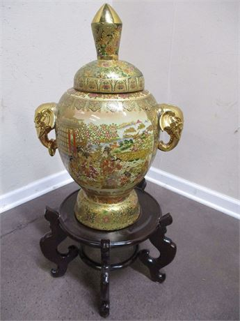 "LARGE (24"") ASIAN URN WITH LID AND STAND"