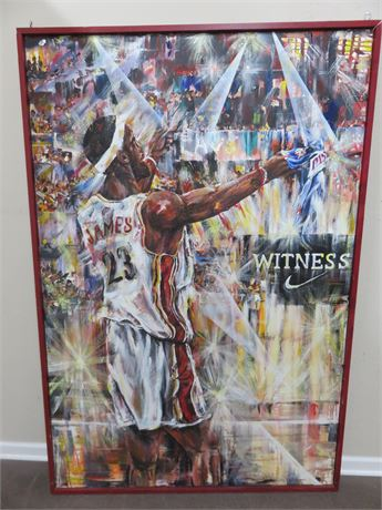 Life-Size LEBRON JAMES Canvas Mural Painting - Over 6 ft. Tall