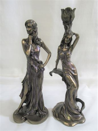2 FEMALE RESIN FIGURINES